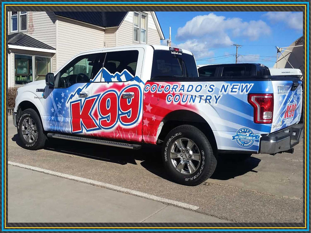 K99 radio station vehicle wrap