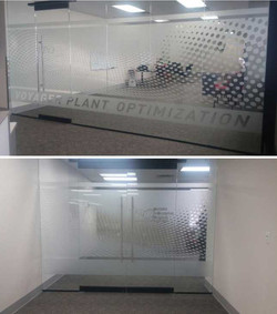 Etched Glass Conference Room