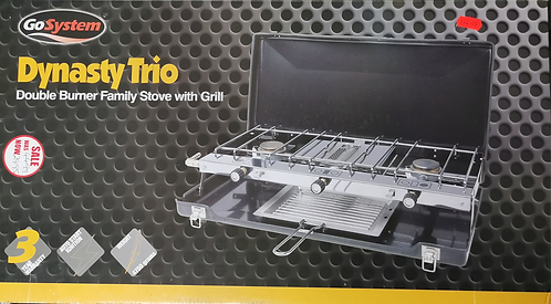 Double burner with grill camping cooker