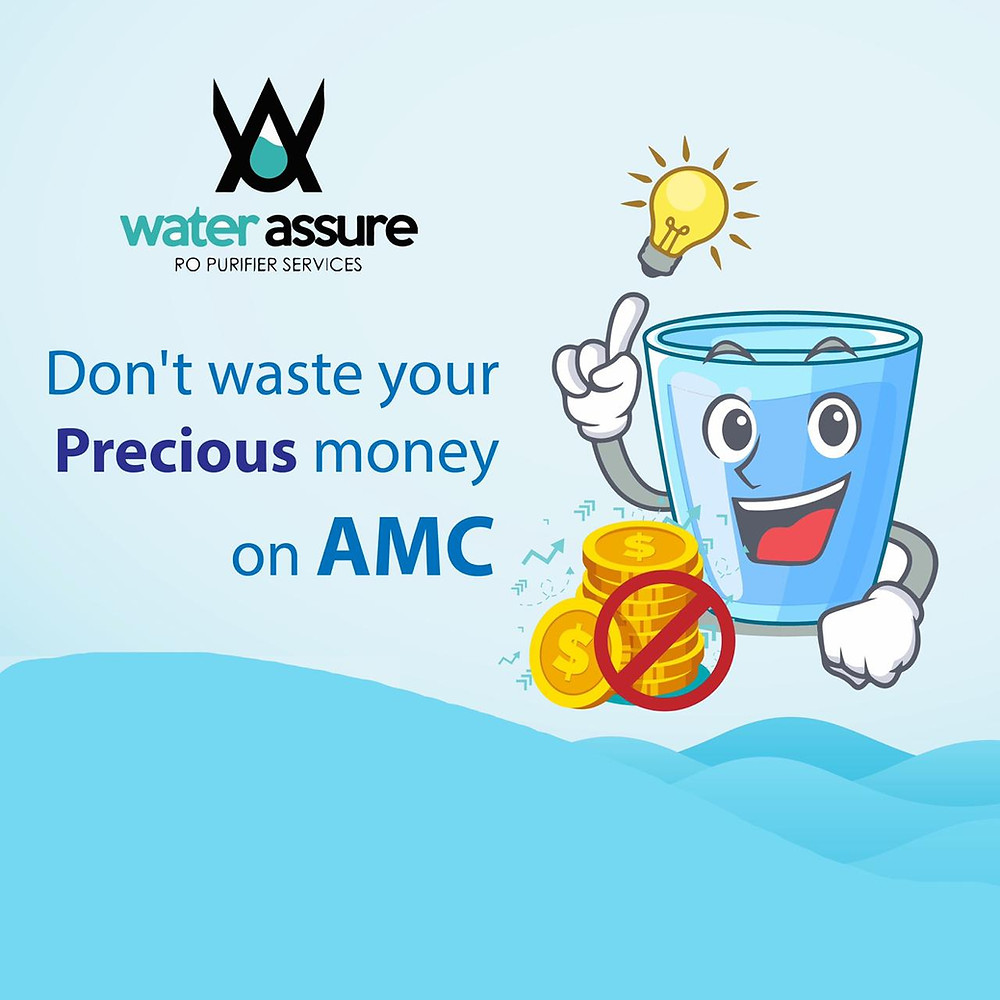 Water Assure RO Purifier Services Logo and one smiling drinking water image with an idea which is demostated by light bulb and crossed coins promoting Don't waste your money on AMC