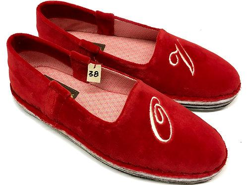 Pantofola velluto rosso
