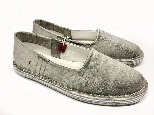 Pantofola shantung grigio perla
