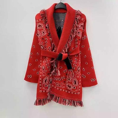 Cardigan fantasia bandana rossa