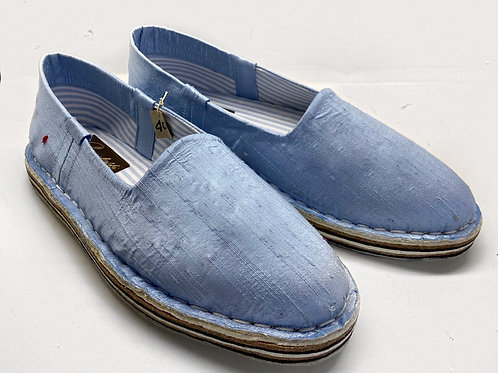 Pantofola shantung azzurro