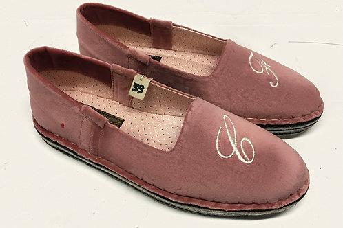 Pantofola velluto rosa