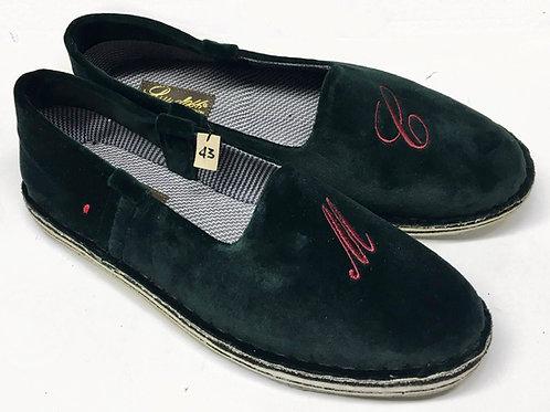 Pantofola velluto verde
