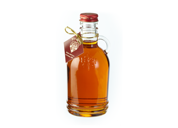 Maple Syrup in Fancy Glass (Embossed Maple Leaf)