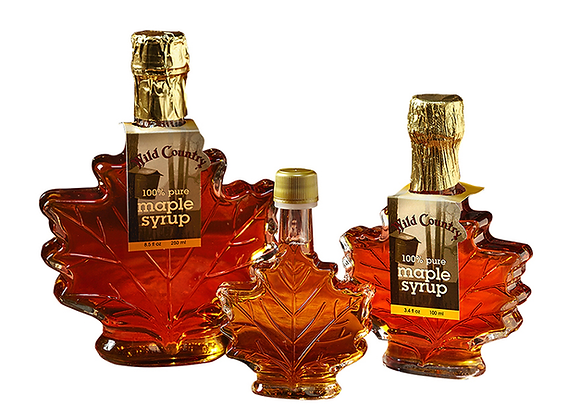 Maple Syrup in Fancy Glass (Glass Maple Leaf)