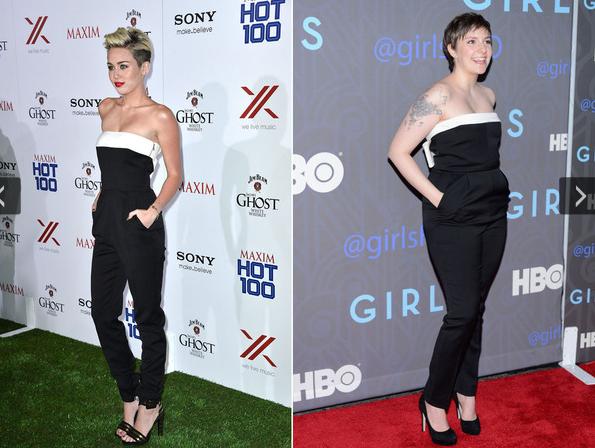 Myley Cyrus e Lena Dunham, batalha de looks, comparação entre mulheres