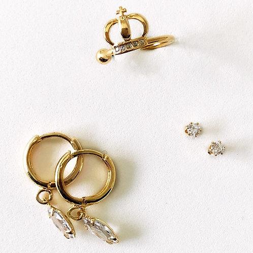 Kit de mini brincos e piercing fake - semijoias banhadas a ouro