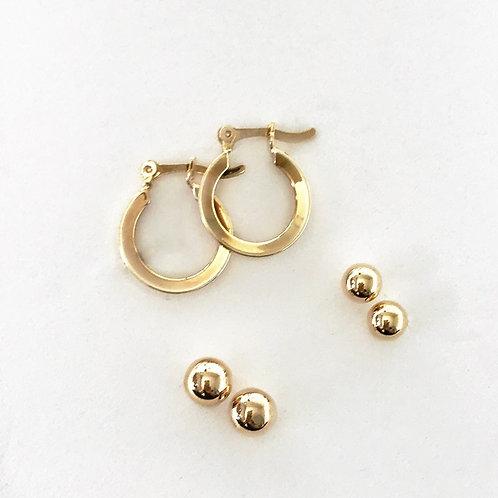 Kit de mini brincos - semijoias banhadas a ouro