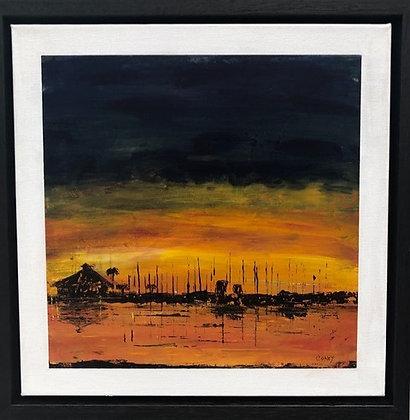 "Davis Island Sunset (12"" x 12"")"