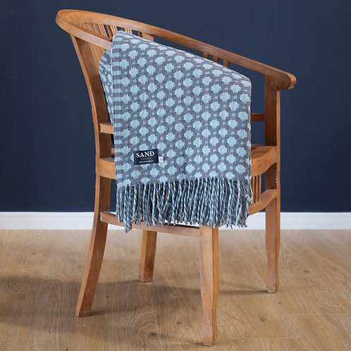 Crossroads Solid Grey and Duck Egg Throw