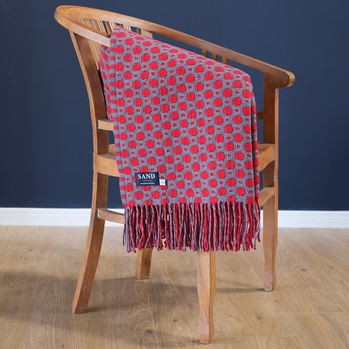 Crossroads Solid Grey and Red Throw