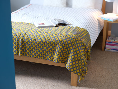 Crossroads Solid Grey and Yellow Throw