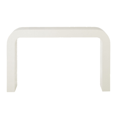"""Horseshoe Ivory Lacquered Linen 52"""" Console Table"""