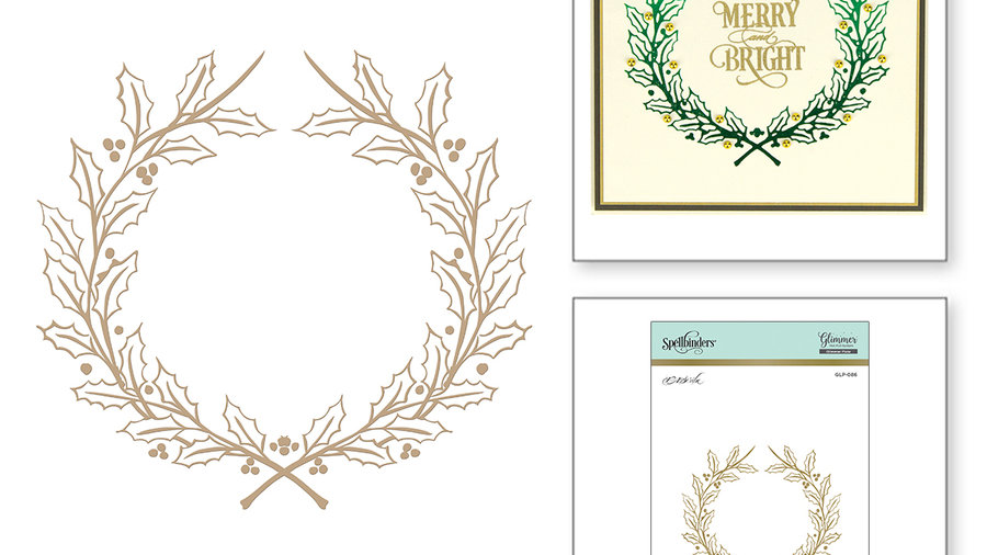 Holly Wreath Holiday 2018 Glimmer Hot Foil Plate by Paul Antonio Holly Wreath H