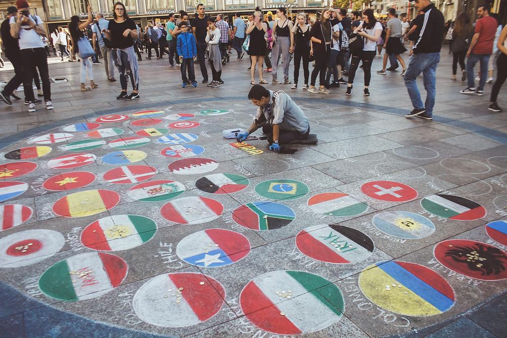 street art public square draw chalk flag country