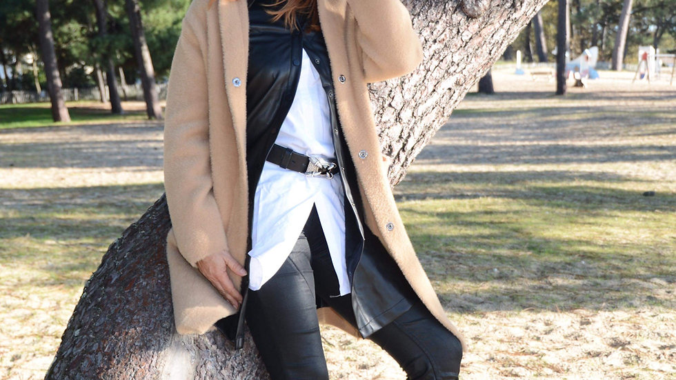 Manteau caramel capuche
