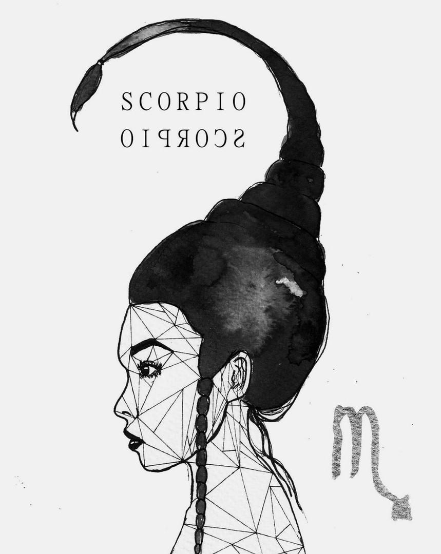 La femme SCORPION en Blanc et Noir