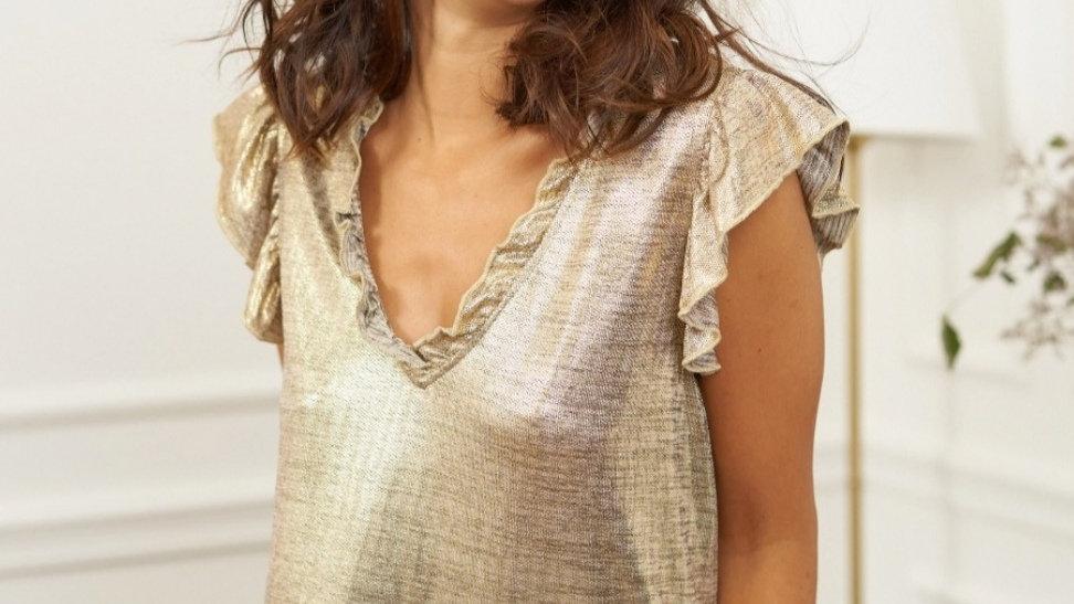 Tee-shirt irisé doré
