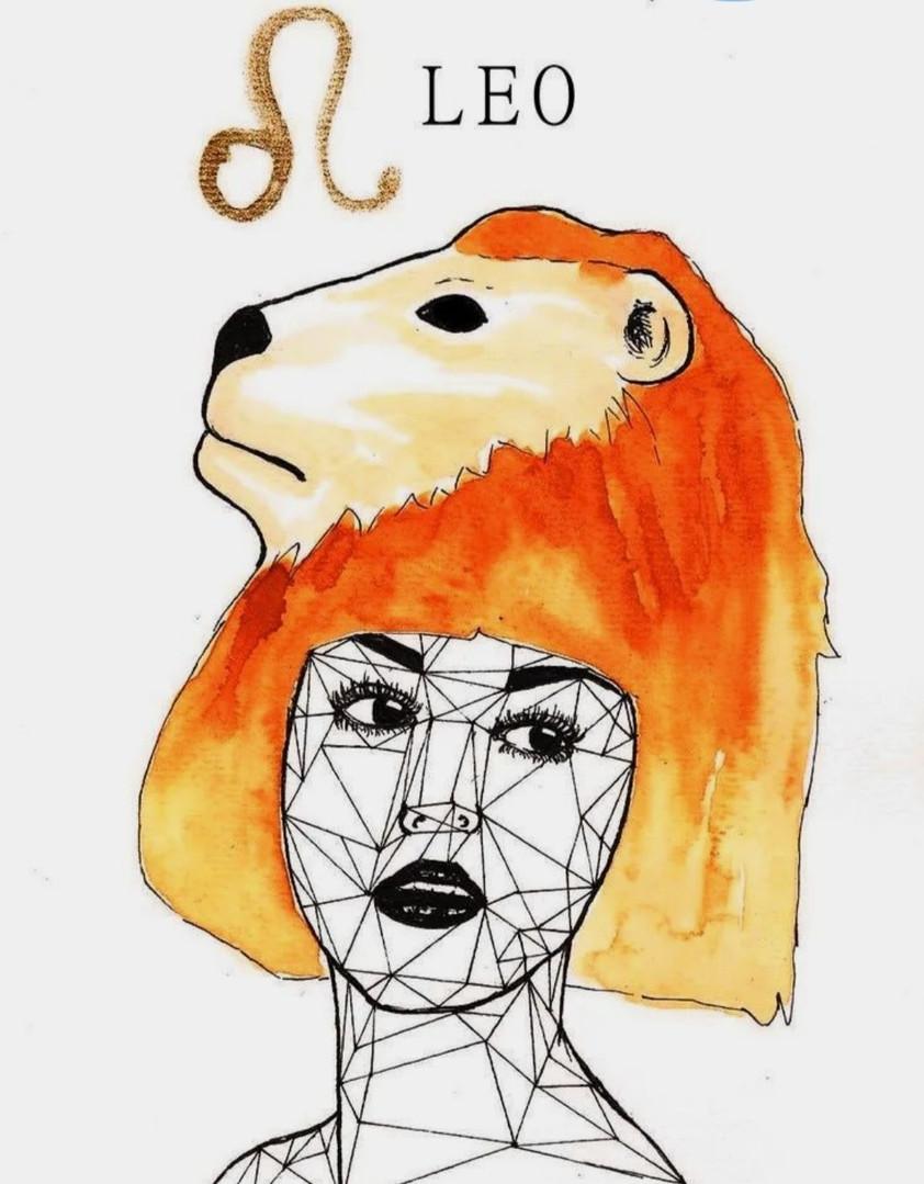 La femme LION en Orange,Or