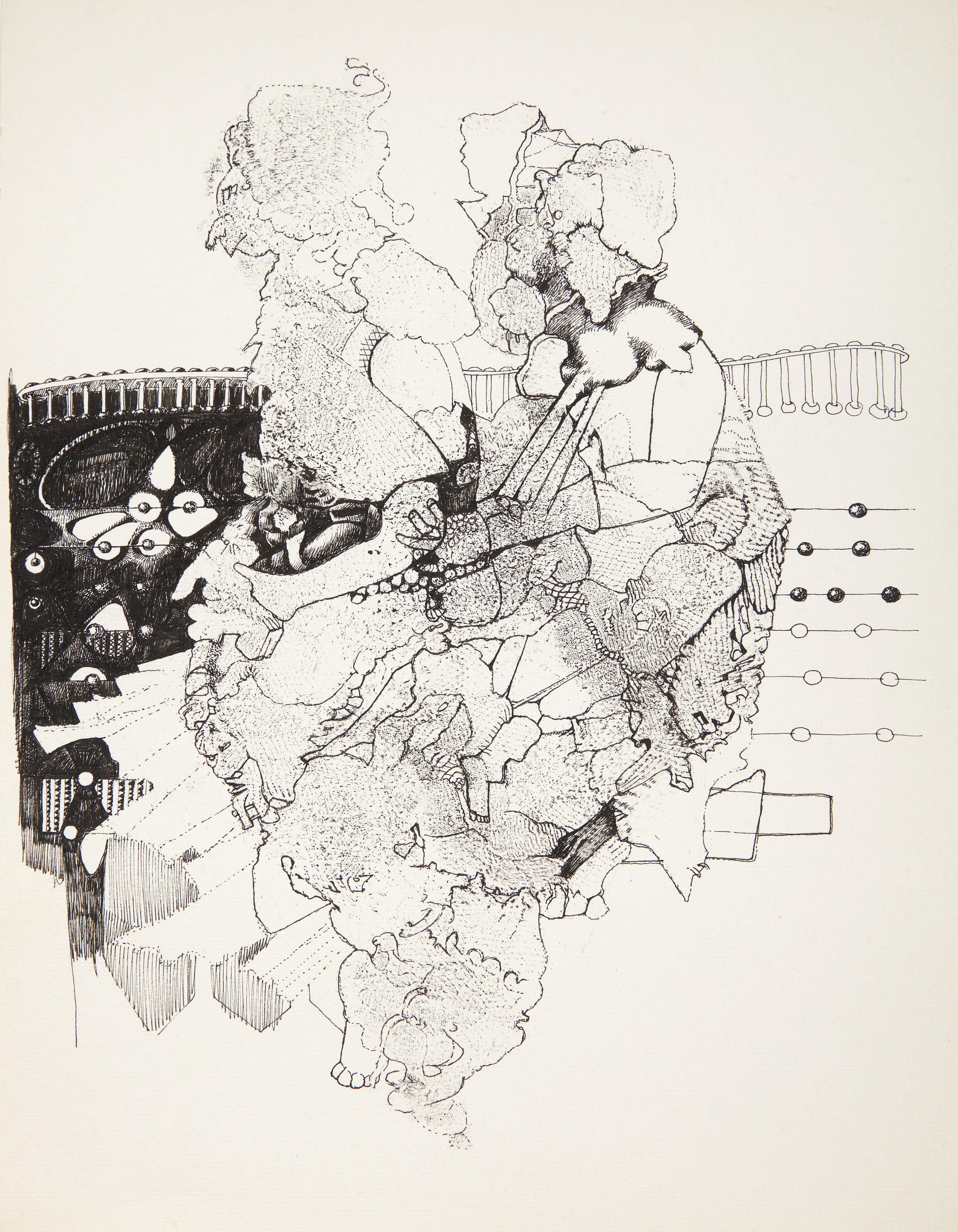 Endre Rozsda - Deux figures à la colonnade (c 1975)