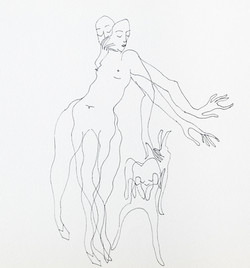 Endre Rozsda - Femme avec chien (1992)