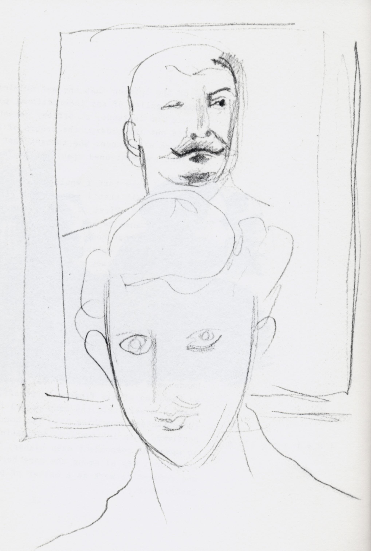 Endre Rozsda -Autoportrait avec Staline (cca 1950)