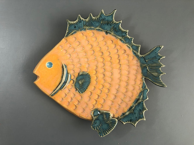 Orange and Blue Fish Plate