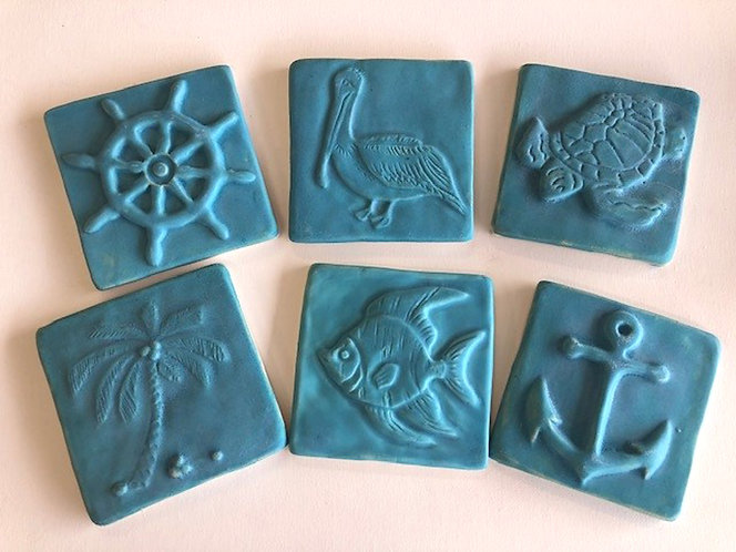 Sea Life 4x4 Tiles Collection in Matte Turquoise