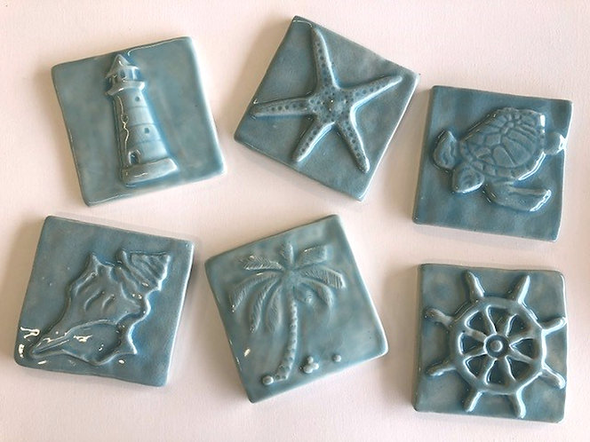 Sea Life 4x4 Tiles Collection in Cerulean