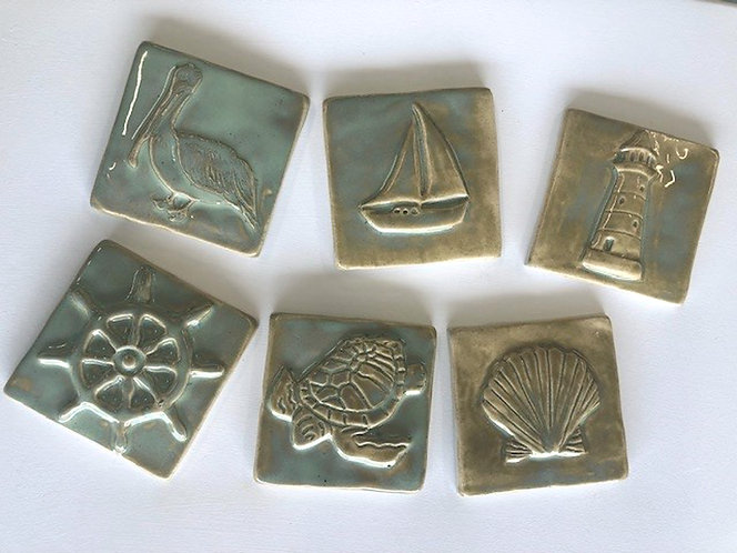 Sea Life 4x4 Tiles Collection in Sand & Sea