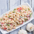 Homemade macaroni salad with elbow pasta