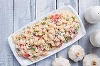 Homemade macaroni salad with elbow pasta