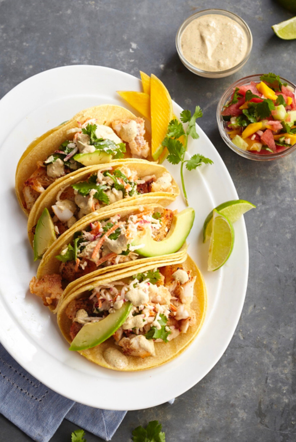 Fish tacos with slaw and watermelon salsa