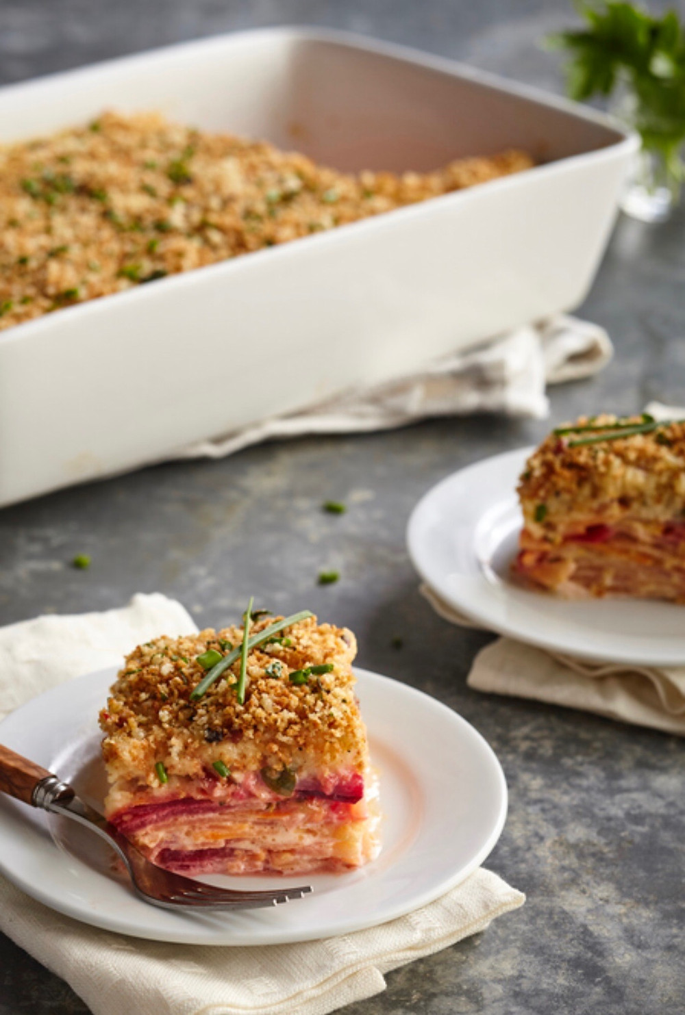 Root vegetable and pancetta gratin