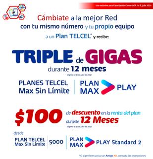 Cámbiate a un plan Telcel con el Triple de Gigas