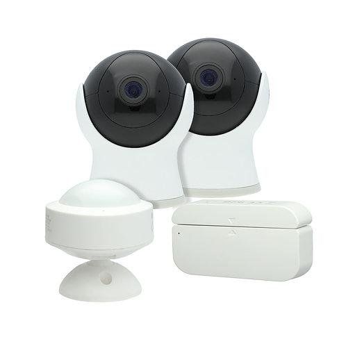 Smart Kit de seguridad: 2 cámaras, 1 sensor de puerta, 1 sensor de movimiento, W