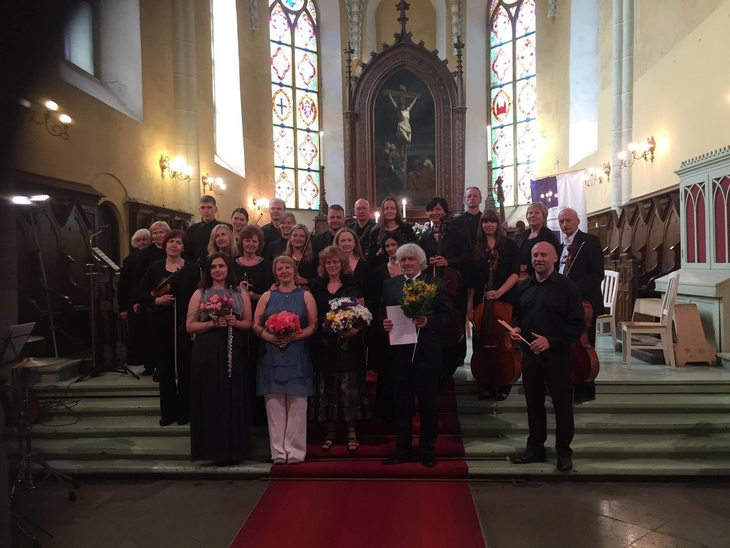 With Vidzemes Chamber Orchestra, flautiste Anete Toča, composer Indra Riše and conductor Andris Veismanis at Cēsis St.John's Church