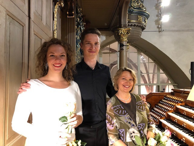 With cellist Kristaps Bergs and soprano Terēze Gretere