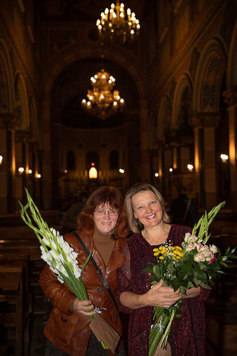 With composer Indra Riše at St. Joseph Cathedral in Liepāja