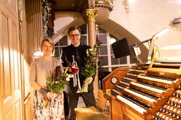 With trumpetist Jānis Porietis at Riga Cathedral