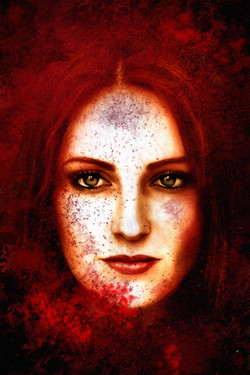 Red powdered woman