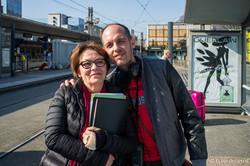 « Brigade poétique », Printemps des poètes, trams de Grenoble, Mars 2015 - La troupe de l'Ecole des