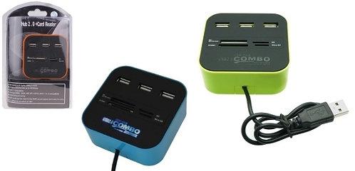 Multi Card Reader + USB2.0 Hub Combo