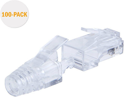 100-PACK Cat 6 RJ45 Plug with Hood Connector, Transparent