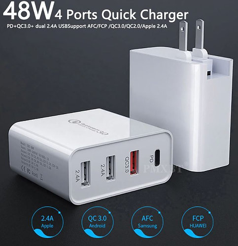 48W Quick Charger PD QC3.0 Type C USB Wall Adapter