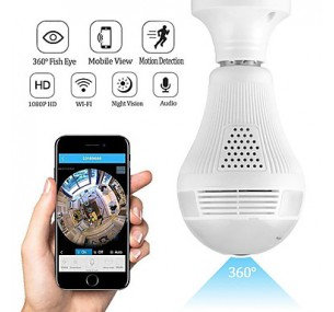 1080P 2MP Wifi Light Bulb Camera 360 Fisheye Lens