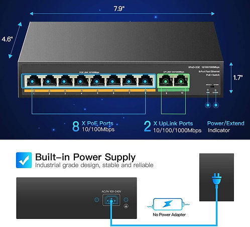 8 Port PoE Switch with 2 Gigabit Uplink